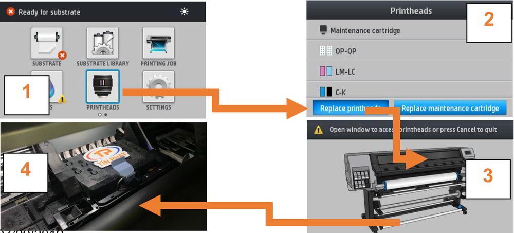 Lệnh thay đầu in máy in HP Latex 300 500